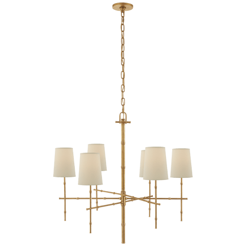 Grenol Medium Modern Bamboo Chandelier in Hand-Rubbed Antique Brass with Natural Percale Shades