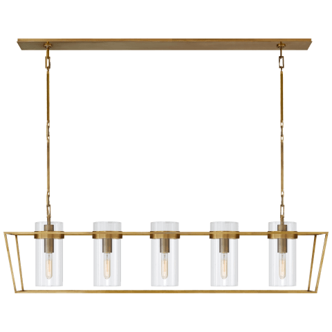 Presidio Large Linear Lantern in Hand-Rubbed Antique Brass with Clear Glass