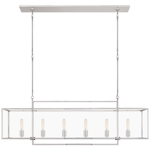 Halle Large Linear Pendant in Polished Nickel with Clear Glass