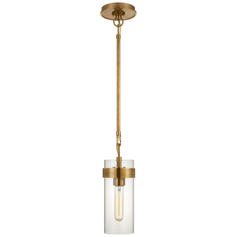 Presidio Petite Pendant in Hand-Rubbed Antique Brass with Clear Glass