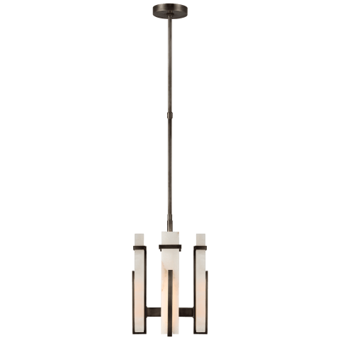 Malik Small Chandelier in Bronze with Alabaster
