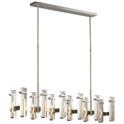 Malik Large Linear Chandelier in Polished Nickel with Crystal