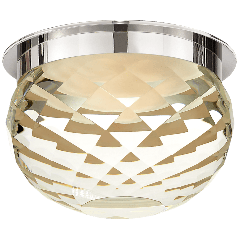 """Hillam 5.5"""" Solitaire Flush Mount in Polished Nickel with Crystal"""