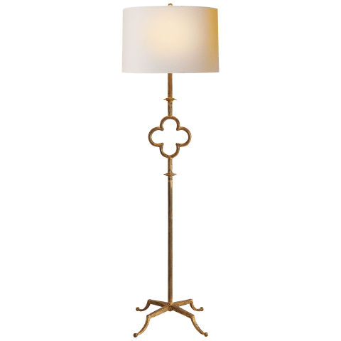 Quatrefoil Floor Lamp in Gilded Iron with Linen Shade
