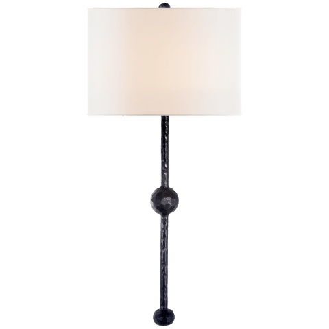 Carey Rail Sconce in Aged Iron with Linen Shade