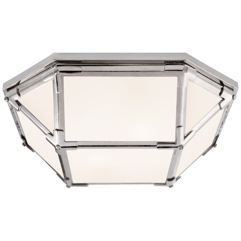 Morris Flush Mount in Polished Nickel with White Glass