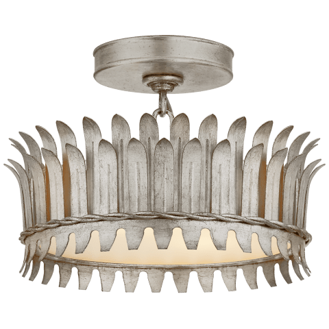 "Leslie 12"" Semi-Flush in Burnished Silver Leaf with Frosted Glass"