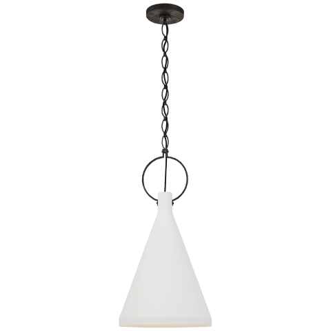 Limoges Medium Tall Pendant in Natural Rust with Plaster White Shade
