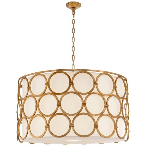 Alexandra Large Hanging Shade in Gilded Iron with Linen Shade