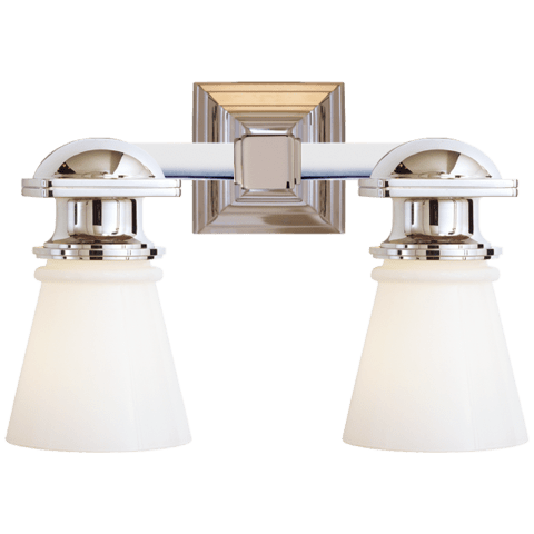 New York Subway Double Light in Polished Nickel with White Glass