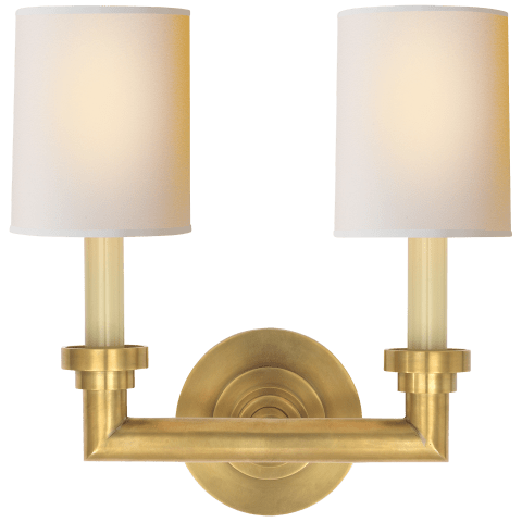 Wilton Double Sconce in Hand-Rubbed Antique Brass with Natural Paper Shades