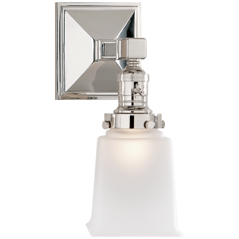 Boston Square Single Light in Polished Nickel with Frosted Glass