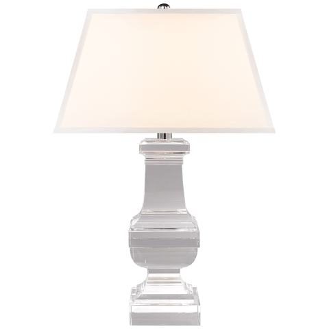 Square Balustrade Table Lamp in Crystal with Silk Shade