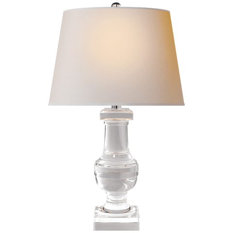 Round Medium Balustrade Table Lamp in Crystal with Natural Paper Shade