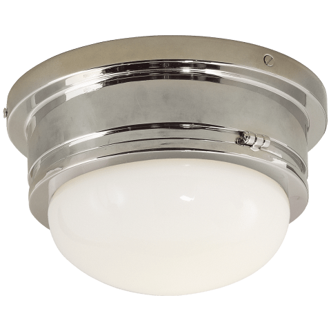 Marine Medium Flush Mount in Polished Nickel with White Glass