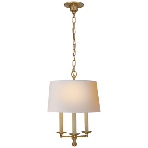 Classic Candle Hanging Light in Hand-Rubbed Antique Brass with Natural Paper Shade