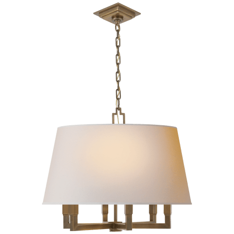 Square Tube Hanging Shade in Polished Nickel with Natural Paper Shade