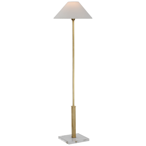 Asher Floor Lamp in Hand-Rubbed Antique Brass and Crystal with Linen Shade