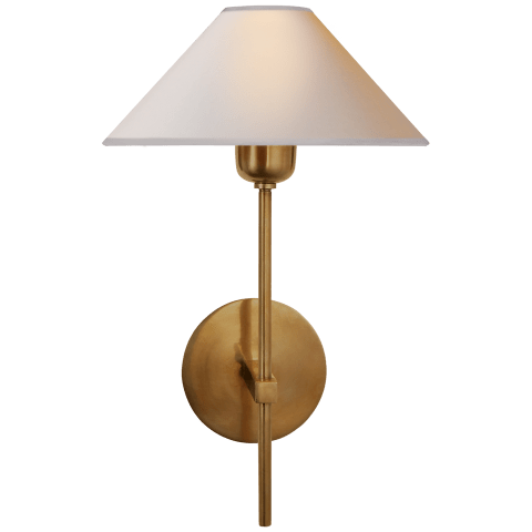 Hackney Single Sconce in Hand-Rubbed Antique Brass with Natural Paper Shade