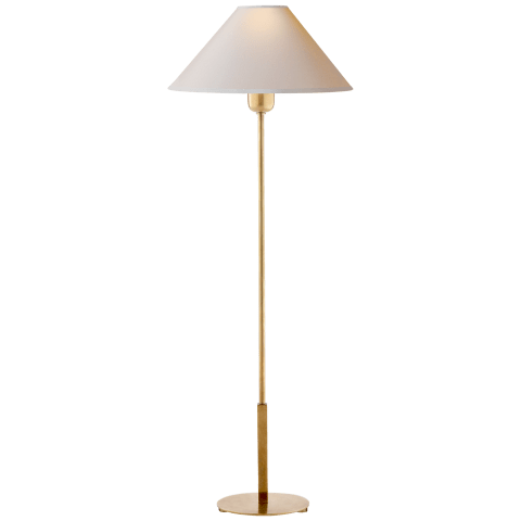 Hackney Buffet Lamp in Hand-Rubbed Antique Brass with Natural Paper Shade