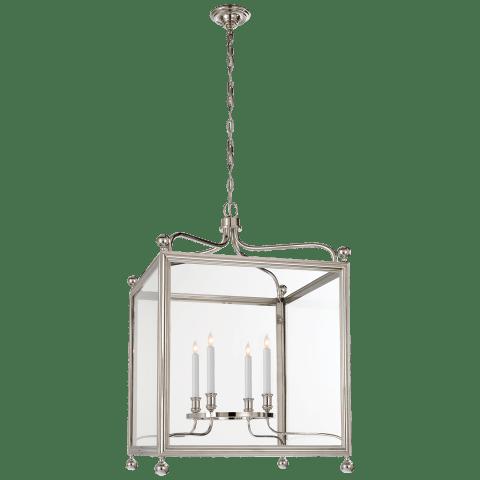 Greggory Large Lantern in Polished Nickel