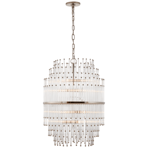 Mia Medium Barrel Chandelier in Polished Nickel with Clear Glass Rods