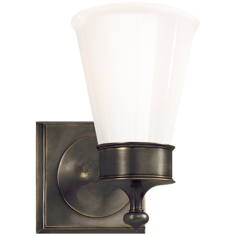 Siena Single Sconce in Bronze with White Glass