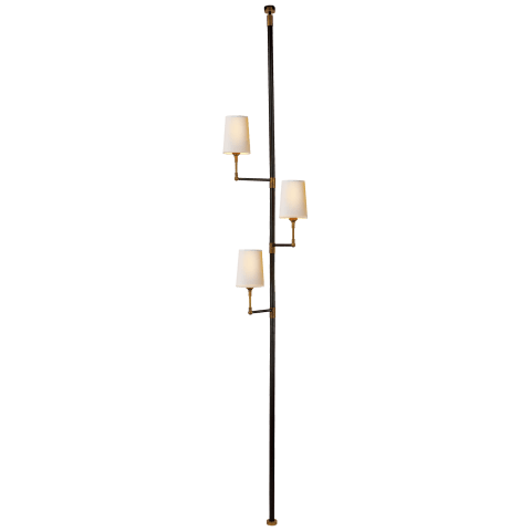 Ziyi Tension Pole Lamp in Bronze and Hand-Rubbed Antique Brass with Natural Paper Shades