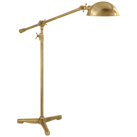 Studio Pivoting Task Floor Lamp in Hand-Rubbed Antique Brass