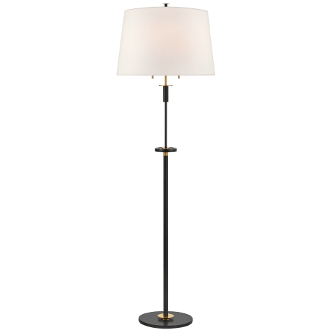 Vivier Large Floor Lamp in Blackened Iron and Hand-Rubbed Antique Brass with Linen Shade