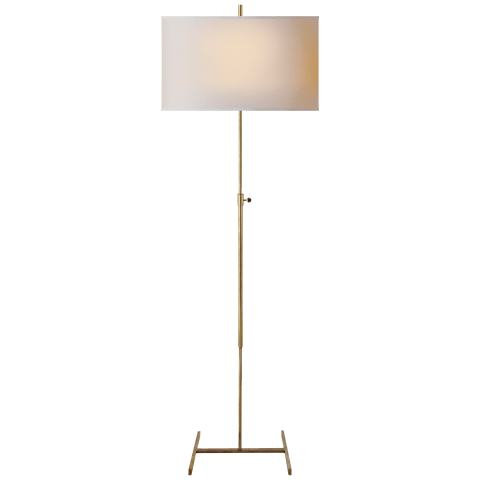 Jake Adjustable Floor Lamp in Hand-Rubbed Antique Brass with Natural Paper Shade