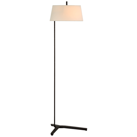 Francesco Floor Lamp in Aged Iron with Linen Shade