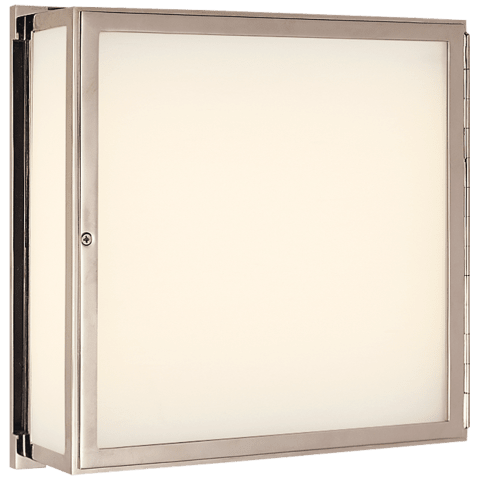 Mercer Square Box Light in Polished Nickel with White Glass