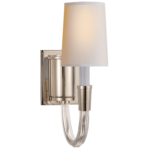 Vivian Single Sconce in Polished Nickel with Natural Paper Shade