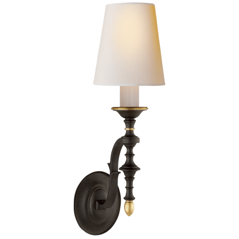 Chandler Single Sconce in Black Rust and Hand-Rubbed Antique Brass with Natural Paper Shade