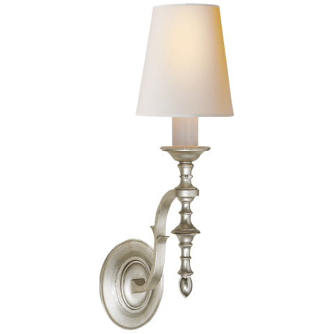 Chandler Single Sconce in Burnished Silver Leaf with Natural Paper Shade
