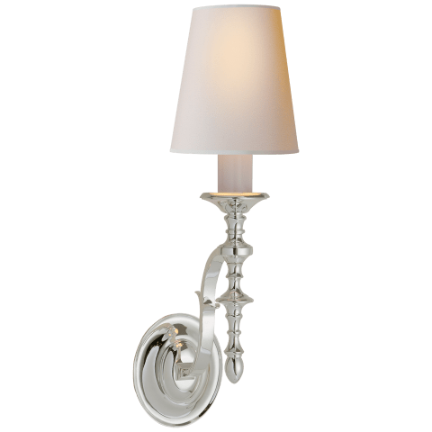 Chandler Single Sconce in Polished Silver with Natural Paper Shade
