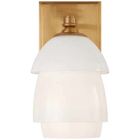 Whitman Small Sconce in Hand-Rubbed Antique Brass with White Glass Shade