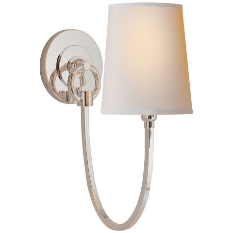 Reed Single Sconce in Polished Nickel with Natural Paper Shade