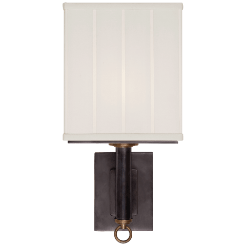 Germain Large Single Sconce in Bronze with Hand-Rubbed Antique Brass with Silk Pleated Shade