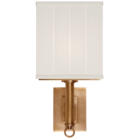 Germain Large Single Sconce in Hand-Rubbed Antique Brass with Silk Pleated Shade