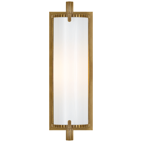 Calliope Short Bath Light in Hand-Rubbed Antique Brass with White Glass