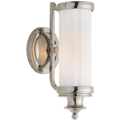 Milton Road Sconce in Polished Nickel with White Glass