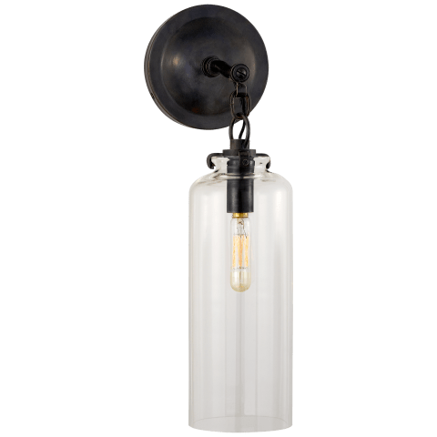 Katie Small Cylinder Sconce in Bronze with Clear Glass