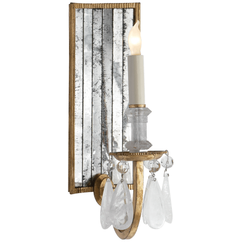 Elizabeth Wall Sconce in Gilded Iron with Quartz and Antique Mirror