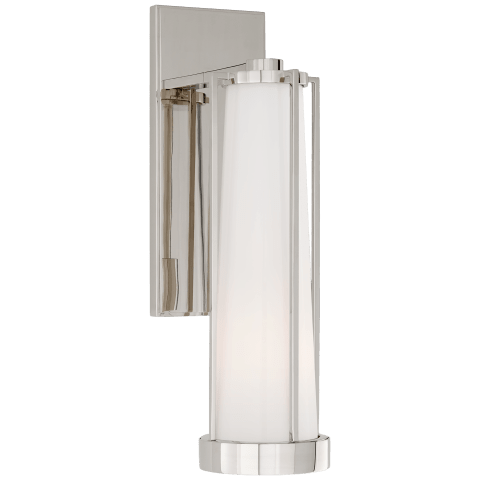 Calix Bracketed Sconce in Polished Nickel with White Glass