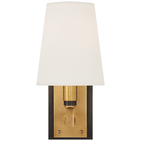 Watson Small Sconce in Bronze and Hand-Rubbed Antique Brass with Linen Shade