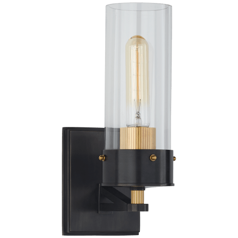 Marais Medium Bath Sconce in Bronze and Hand-Rubbed Antique Brass with Clear Glass
