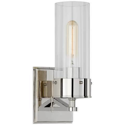 Marais Medium Bath Sconce in Polished Nickel with Clear Glass