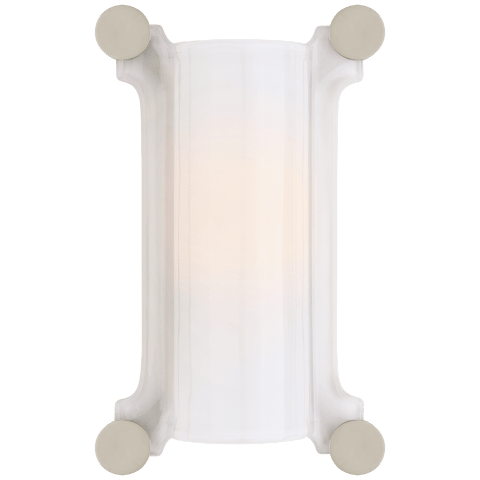 Chirac Small Sconce in Polished Nickel with White Glass